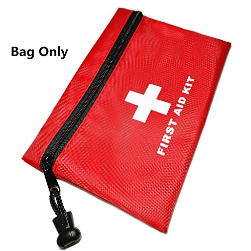 (PAXLee Red First Aid Bag Empty First Aid Pouch Small Mini Waterproof Handy to Carry Diabetes Supplies Wrist BP Monitor in Outdoors (Red)