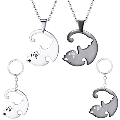 Couple Lover Yin Yang Matched Puzzle Dog Pendant Necklace Valentine/'s Day Gift
