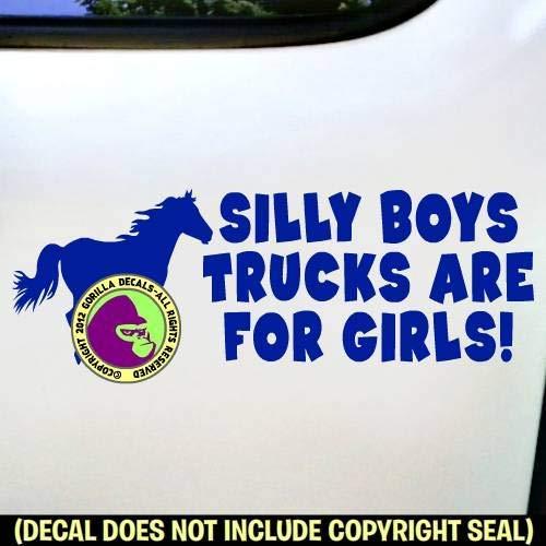 Horse Rider Vinyl Decal Sticker E SILLY BOYS TRUCKS ARE FOR GIRLS
