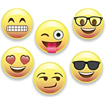Emoji Magnets, Set of 6 Different Emojis Faces, 1.25 inch, Super Cute Round Magnets for Home, Office, Fridge, Lockers, or Party Favors, Made in USA