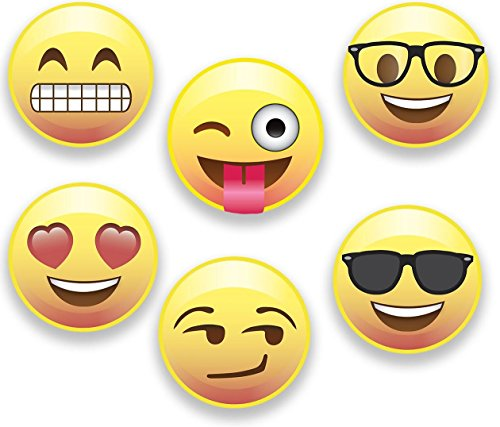 Emoji Magnets, Set of 6 Different Emojis Faces, 2.25 inch, Super Cute Round Magnets for Home, Office, Fridge, Lockers, or Party Favors, Made in USA