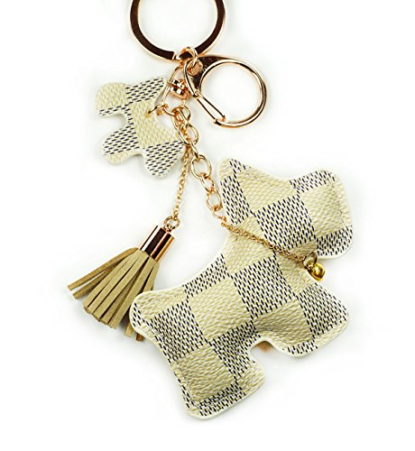 Dog Keychains Leather (PU Leather Dog Puppy Pet Keychain Check Canvas Patten Textile Tassel Handbag Key Charm Ring Pendant Chain (Cream Dog))