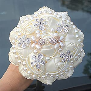 MOJUN Cream Wedding Flowers Bridal Bouquets Pearl Crystal Bride Bridesmaid Cream Wedding Bouquet 16