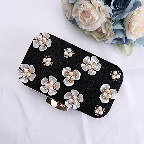 Womens black Floral Bags Rhinestone Clutch Wedding Glitter Purse Evening Beaded rfprq