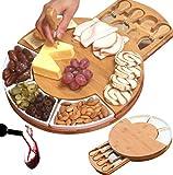 Slate Cheese Board Set w/Cutlery Set, 2 Bowl, Soap Stone Chalk, Charcuterie Platter Slate Board, Perfect gift for Mom, Mothers, Women, Men Housewarming, Wedding, Birthday, hostess