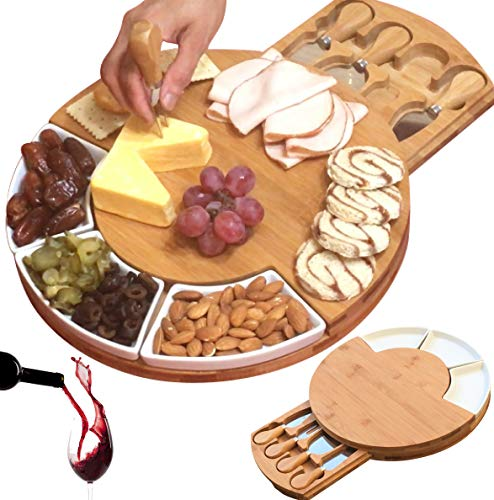 Unique gifts for Mom, Mothers, Women, Men Housewarming, Wedding, Birthday, Bamboo Cheese Board w/Cutlery Set, Wood Charcuterie Platter & Meat Server, 4 Stainless Steel Knife, 3 Bowls