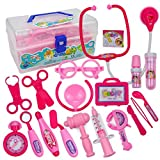 Yeefant Doctor Kit 18PCS Pretend Play Dentist Medical Kit with Electronic Stethoscope and Coat for Kids Holiday Gifts,School Classroom,Easter Stuffers and Doctor Roleplay Costume Dress-Up Medicine box