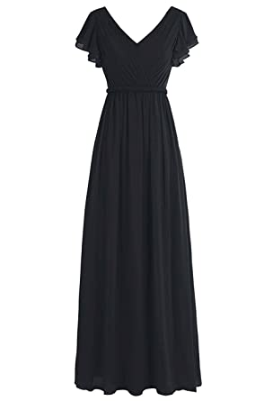 Belle Lady Womens Pleated Long Bridesmaid Dresses Chiffon Cap Sleeves Prom Gown Black us2