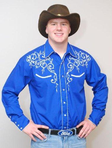 Men's Cotton Blend Retro Leaf Embroidery Western Shirt-Royal Blue-3XL