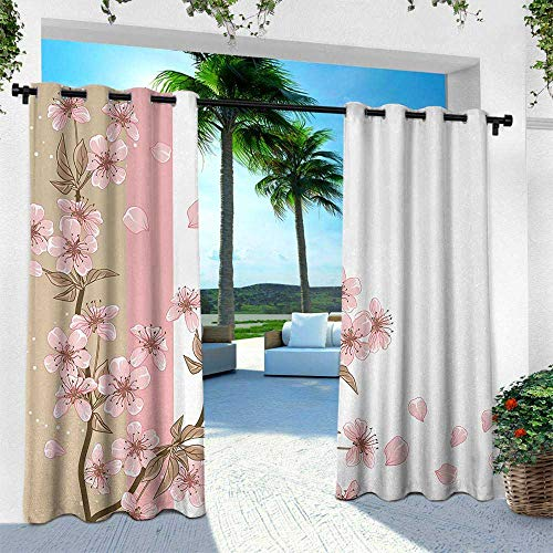 Hengshu Japanese, Silver Grommet Top Drape,Romantic Sakura Blooms Flowers Petals Spring Wind Eastern Nature Theme, W96 x L84 Inch, Sand Brown Light Pink (Best Japanese Restaurant Soho)