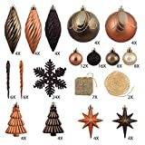 125-Piece Club Pack of Shatterproof Brown Copper Gold Tone Christmas Ornaments
