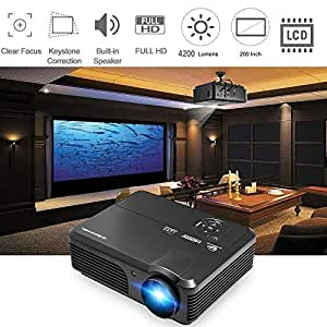 LED projecteur 1080p Full HD 4200 Lumens WXGA, projecteurs Home Cinema with HDMI USB VGA AV Sortie audio pour iPhone iPad PC portable Android ...