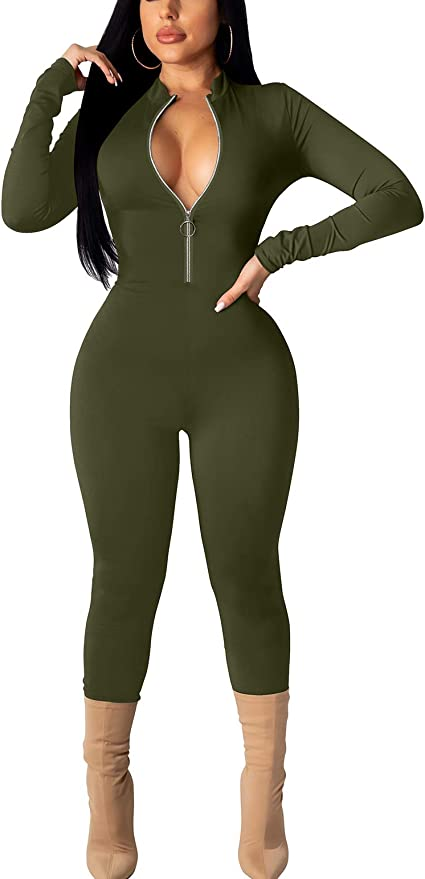 Women Mock Neck Long Sleeves Zipper Pockets Patchwork Casual Sport Jumpsuit 2pc