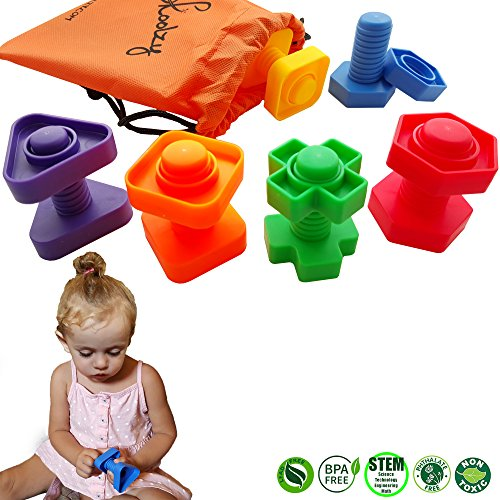 Jumbo Nuts and Bolts Toddler Toys - Skoolzy Montessori Toys Building Construction Set | 12 pc Occupational Therapy Tools Matching Fine Motor Skills for Toddlers Boys, Girls | Learning Activities eBook (Activity Sensory Toddler)