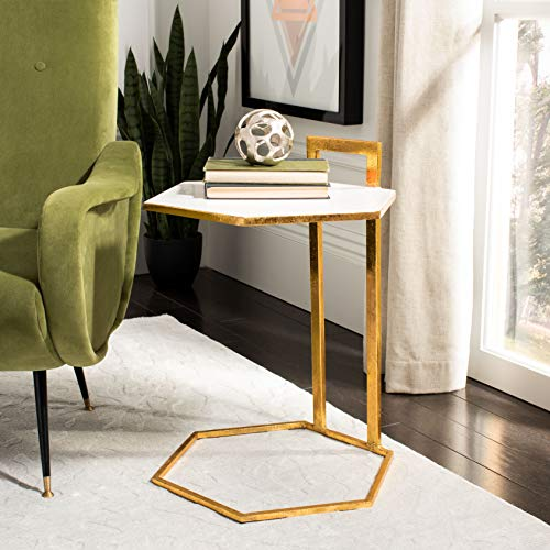 Safavieh ACC3208A Home Collection Mirasol White and Gold Hexagon C Accent Table ()