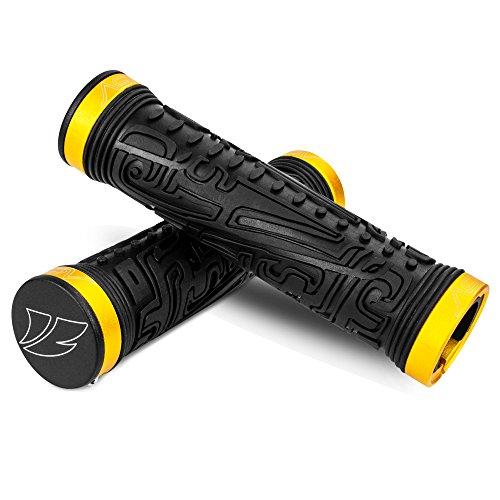 Handlebar Grip End (BV Bike Handlebar Grips, Double Lock-on Bicycle Grip Handle Bar End Holding Locking Grips, for MTB, BMX, Mountain, Downhill, Folding Bike (Gold))