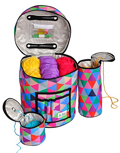 Knitting & Crochet Bag with Accessories - Water Resistant & Tangle-Free Yarn Storage Tote