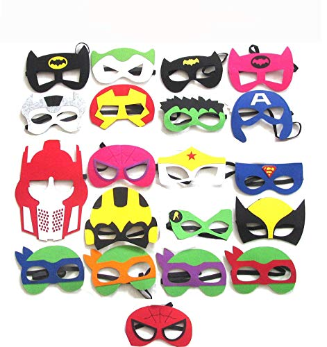 Lumo Superhero Masks for Costume Parties -20 Pack - Boys & Girls, Age 3+ - Party Favors