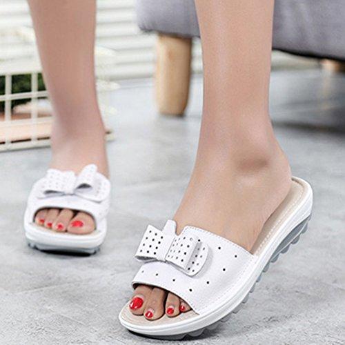 Chaussures Vache Femelles Plate Femmes XHCHE Cuir D'éTé Pantoufles Forme Flats Blanc Sandales Glisse Flip Cales Flops qCIcpcw7n