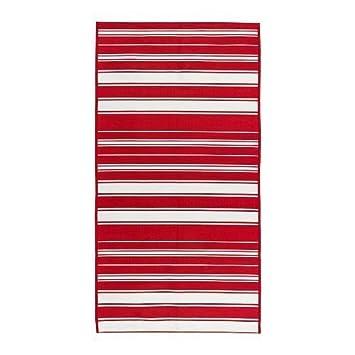 Amazon De Ikea Alslev Flachgewebte Teppich Rot Weiss 80x150 Cm
