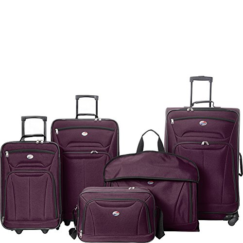 American Tourister Wakefield 5 Piece Luggage Set (Purple) American Tourister Lightweight Garment Bag