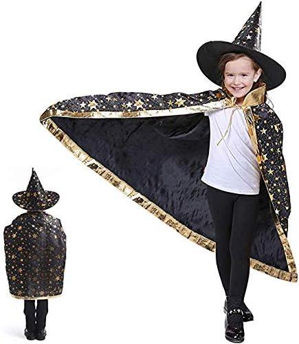 Anzmtosn Disfraces de Halloween Mago de Bruja Capa con Sombrero Capa de Mago y Sombrero Disfraz de niño para niños Cosplay Disfraz para niños pequeños Niños Niños / Niñas (Negro)