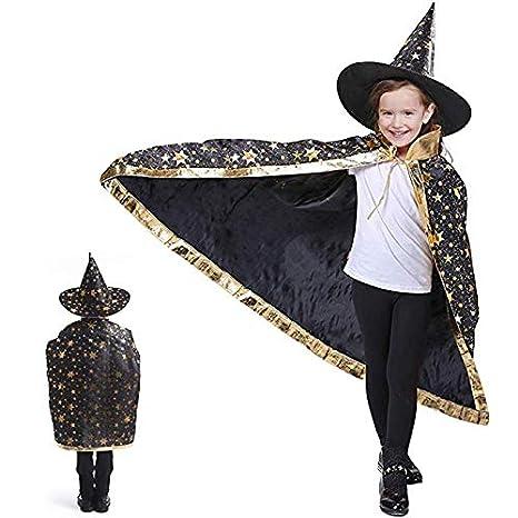 Anzmtosn Disfraces de Halloween Mago de Bruja Capa con Sombrero Capa de Mago y Sombrero Disfraz de niño para niños Cosplay Disfraz para niños pequeños ...