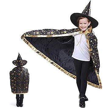 Anzmtosn Disfraces de Halloween Mago de Bruja Capa con Sombrero ...