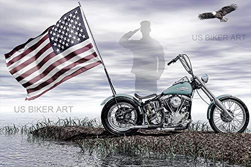 (Harley Davidson Shovelhead USA Veterans Military Memorial Flag America Chopper Biker Art)