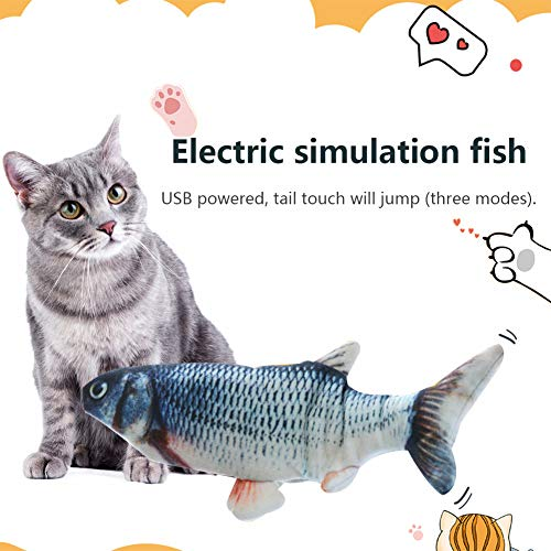 HLovebuy Catnip Fish Toys, Realistic Plush Simulation Electric Doll Fish,Cat Wagging Fish Realistic Plush Toy, Simulation Catnip Soft Interactive Chewing Toy for Cat/Kitty/Kitten 6