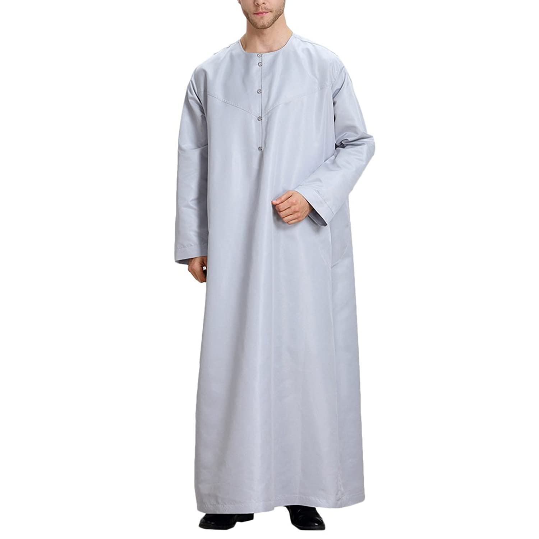 Zhhlinyuan Hombres Casual Fiesta musulmán islámico Solid color Manga larga Robes árabe medio este Saudi Style Costume xaW9N46