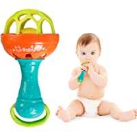 Gemini_mall 1pc Baby Teether Rattles Toys Develop Intellement Grasping Gums Plastic Hand Bell Rattle Educational Toy for Baby Boys and Girls Xmas Birthday Gifts Stocking Fillers Random Color