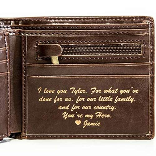 Men's Leather Bifold Wallet For Men - Custom Laser Engraving (Brown Circle)
