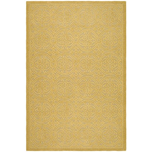 Safavieh Cambridge Collection CAM233A Handcrafted Moroccan Geometric Light Gold and Dark Gold Premium Wool Area Rug (6' x 9')