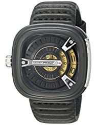Seven Friday M2-1 Automatic Ion Plated Stainless Steel Case Black Calfskin Mineral Men's Watch
