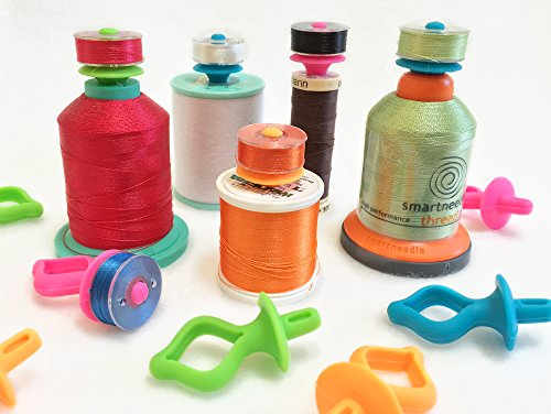 Great Notions Embroidery (Original BOBBINIS Bobbin Holders (12 pcs) by Smartneedle | Storage Thread Bobbins on top of Thread spools | Works with L,M and A bobbins |Great for embroidery, quilting and sewing thread)