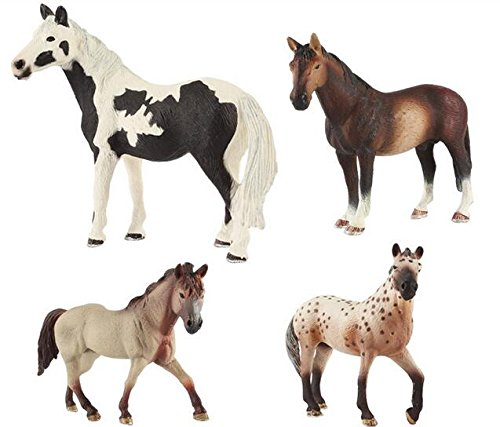 NiGHT LiONS TECH 4.3-5.5 inch 4 pcs /set Emulational Realistic animals big horse Plastic Figures toy funny Toys for Boys and Girls Educational toy gift by NiGHT LiONS TECH