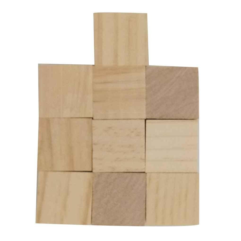 Fighting Pine Stéréoscopiques Cube Carrés en Bois Briques de Construction Blocs Edges Bricolage Artisanat Jouets Bois Franc Carving Décoration