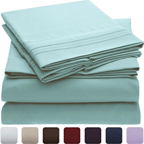 Mellanni Bed Sheet Set - Brushed Microfiber 1800 Bedding - Wrinkle, Fade, Stain Resistant - Hypoallergenic - 4 Piece (King, Spa Blue) by Mellanni (Image #1)