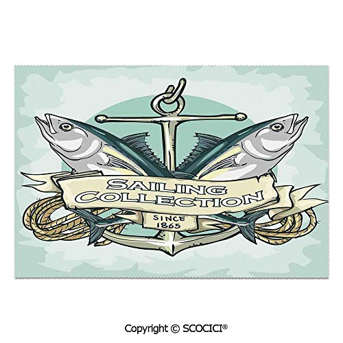 SCOCICI Set of 6 Printed Dinner Placemats Washable Fabric Placemats Sailing Collection Since 1865 Vintage Fisherman Ribbon Banner Sea Food for Dining Room Kitchen Table Decoration