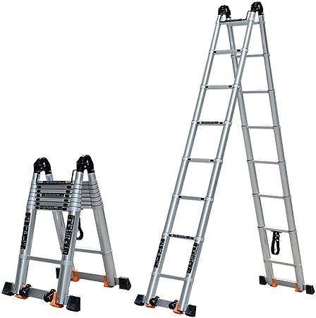 Escalera telescópica de aluminio 2.85m Escalera telescópica con marco en A Escalera de doble extensión Escaleras multiuso Escalera portátil Escalera plegable for techo tipo loft Interior al aire libre: Amazon.es: Hogar