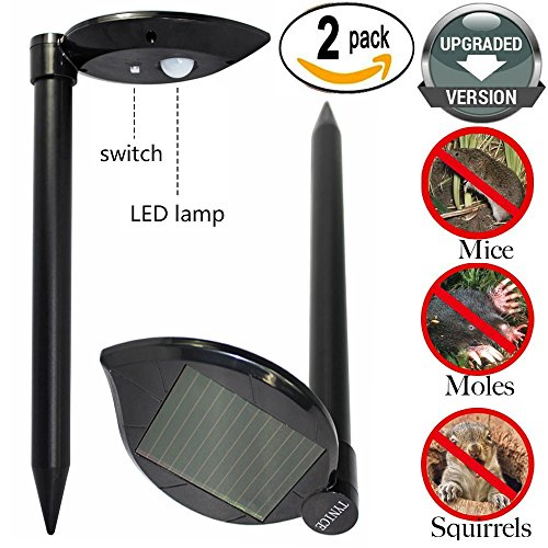 TYNICE 2XPack (UPGRADED VERSION) Mole Repeller Solar Mole Repellent Sonic Spike Mole Gopher Vole Groundhog Rodent Chaser With Professional LED lamp Sonic Mole Gopher Repeller