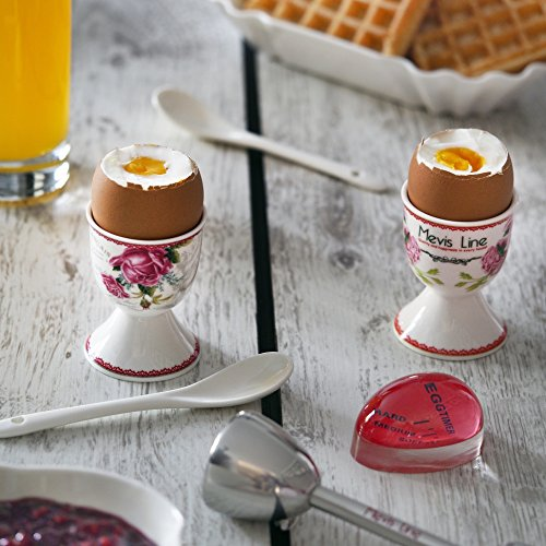 MEVIS Line - Set for 4 Person Boiled Egg Kit 2 Egg Cups With Spoons, 1 Egg Timer, and 1 Topper Cracker, Easy to Use Breakfast Set for Egg Lovers by MEVIS LINE (Image #4)