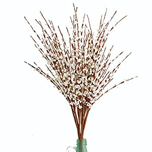 "UHMei 10 Pieces 19.5"" Long of Jasmine Artificial flower Artificial flowers Fake Flower for Wedding Home Office Party Hotel Restaurant patio(White) 10"