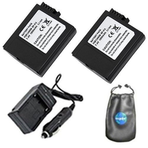 amsahr ValuePack (2 Count): Digital Replacement Digital Camera and Camcorder Battery PLUS Mini Battery Travel Charger for Canon BP-412, 422, 406, 300, Elura: 20MC - Includes Lens Accessories Pouch
