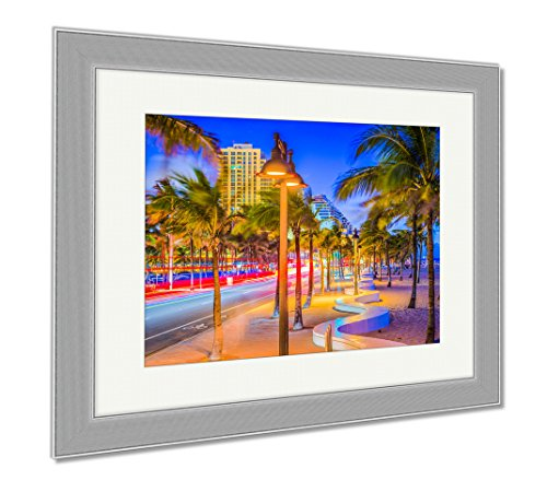 Ashley Framed Prints Ft Lauderdale Florida USA On The Beach Strip, Wall Art Home Decoration, Color, 30x35 (frame size), Silver Frame, - Olas Lauderdale Las Fl Ft