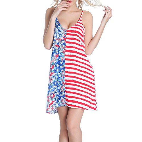 Ytwysj Womens Sexy Spaghetti Strap Backless Bikini Cover up,US American Flag Pattern Beach Wrap Dress Sundress