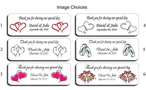 (210 Personalized Adhesive Labels)Wedding Bubble Label Favors, Wedding Stickers / Wrapper Favors.
