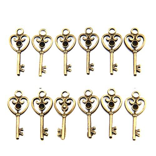 Heart Shaped Key Charm - Bestartstore 100Pcs 3.2cm (1.3