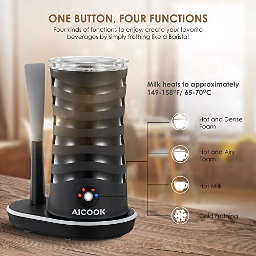 Milk Frother Aicook, Electric Milk Steamer with Hot/Cold Milk Foaming Functions, 4 Modes, 360° Lighting Base with Silicone Scraper, Automatic Milk Frother and Warmer for Coffee, Latte, Cappuccino by AICOOK (Image #1)